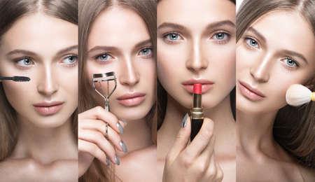 werkzeug: Sammlung von sch�nen jungen M�dchen mit einem hellen nat�rlichen Make-up und Beauty-Werkzeuge in der Hand. Gemachtes Bild im Studio auf einem wei�en Hintergrund. Lizenzfreie Bilder