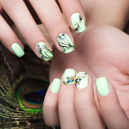 chicas guapas: Arte dise�o de manicura con pluma de pavo real en las manos femeninas. De cerca. u�as de moda. Las fotos tomadas en el estudio
