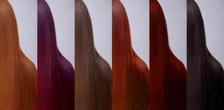 mujeres morenas: Colección de pelo, sombras, conjunto de seis colores. Chica con el pelo liso