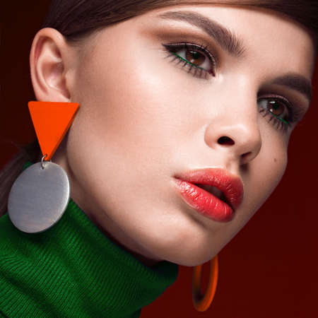 twiggy: Pretty fresh girl, fashionable image of modern Twiggy with unusual eyelashes and bright accessories. Photos shot in studio