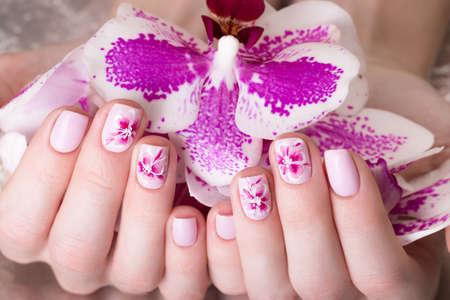 Schuss schöne Maniküre mit Blumen auf weiblichen Fingern. Nails Design. Nahansicht. Gemachtes Bild im Studio auf einem weißen Hintergrund.