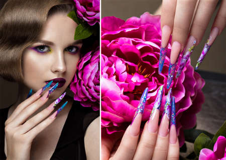 Beautiful girl with colorful make-up, flowers, retro hairstyle and long nails. Manicure design. The beauty of the face. Photos shot in studio. collage of photos Stock Photo