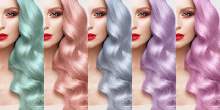 Hair Collection, shades, set of five colors. straight hair