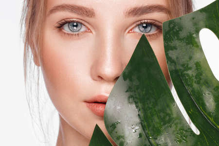 Beautiful fresh girl with perfect skin, natural make-up and green leaves. Beauty face. Photo taken in the studio. Stok Fotoğraf