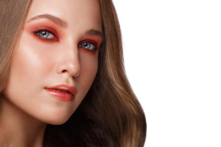 Beautiful fresh girl with perfect skin, bright red make-up. Beauty face. Photo taken in the studio. Stok Fotoğraf