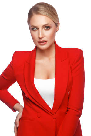 showy sexy blond woman in red clothes, with classic make-up. Beauty face.