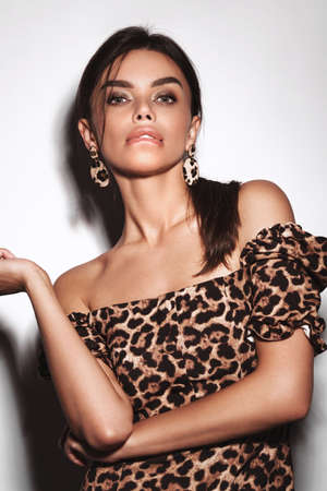 Beautiful sexy woman in a leopard dress and earrings, with classic smokey makeup and a fashionable hairstyle. Beauty face.