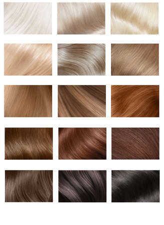 Hair Collection, shades, set of five colors. straight hair.