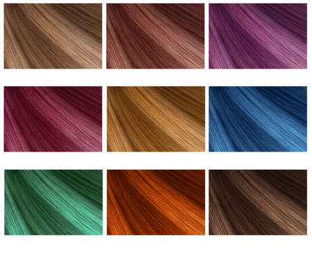 Hair Collection, shades, set of nine colors. straight hair.