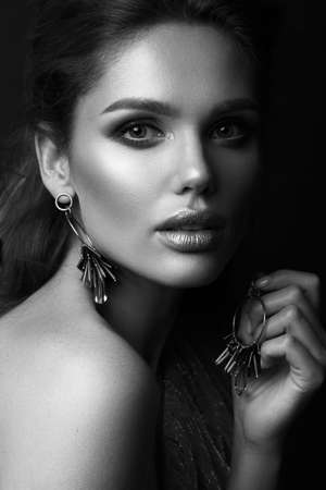 Beautiful sexy girl with sensual lips, fashion hair and accessories. Beauty face.