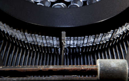 old typewriter with the key number seven raised Stock Photo
