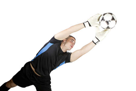soccer goalkeeper ball in his hands Stock Photo