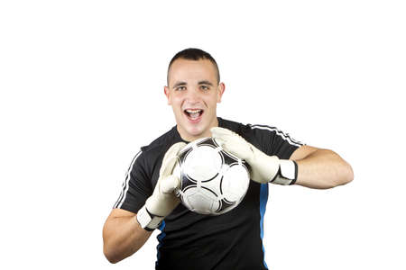 happy soccer goalkeeper ball in his hands Stock Photo