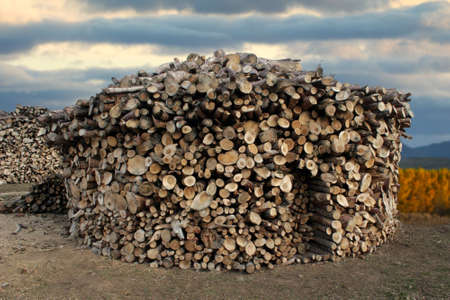 woodpile small house shaped drying in Spain Stock Photo