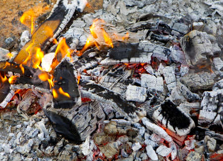 remains of a wooden wood fire flame Stock Photo