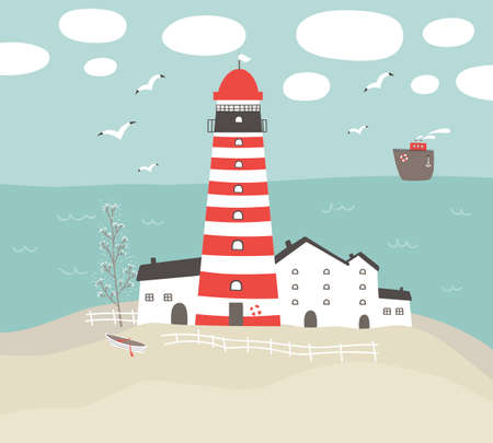 Vector landscape with a lighthouse, white houses on the shore and a boat.