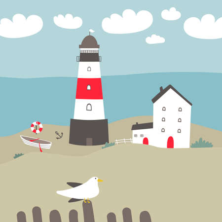 Vector landscape with a lighthouse, white houses, and fishing boat. Vector illustration.
