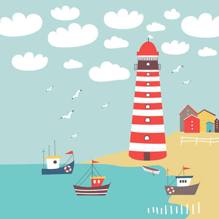 Vector landscape with striped lighthouse, fishing boats and colorful houses on the shore Vector illustration.
