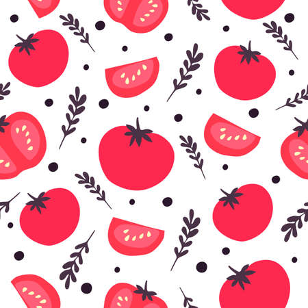 Vector seamless pattern of red tomatoes, basil and peppercorns. Perfect for wrap paper, wallpaper, background, fabric print.