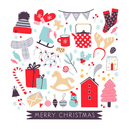 Christmas hand drawn seasonal collection with holiday elements in vector. Vector clothes, Christmas tree, Christmas  decoration, presents and red scandinavian house. Christmas mood. Christmas seasonal items.