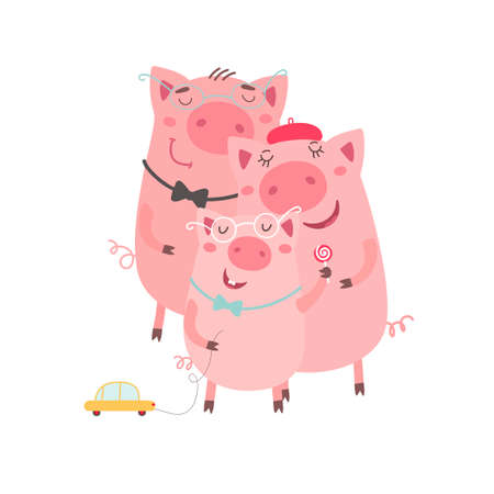 Family of pigs. Happy father, mother and son. Hand drawn cartoon illustration. Vector illustration on white background. Illustration
