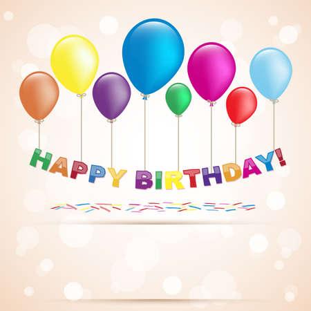 happy birthday with ballons Illustration