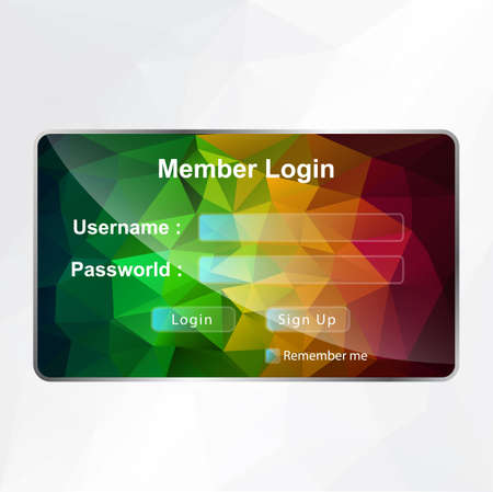 LOGIN POLYGONAL Vector