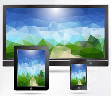 desktop wallpaper: MOBILE,TABLET,PHONE with polygonal background Illustration