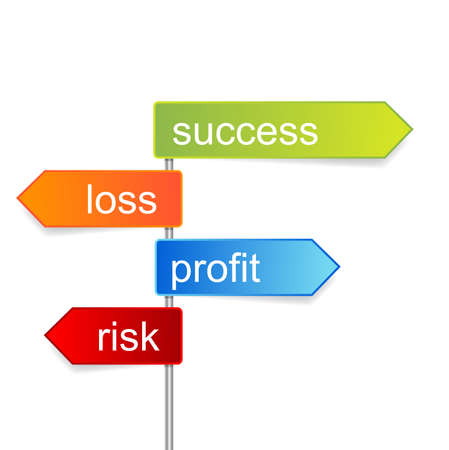 perdidas y ganancias: indicador de éxito Vectores