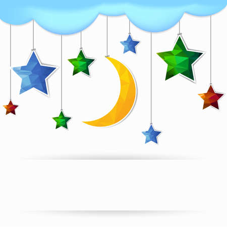 moon and star polygonal illustration Vector