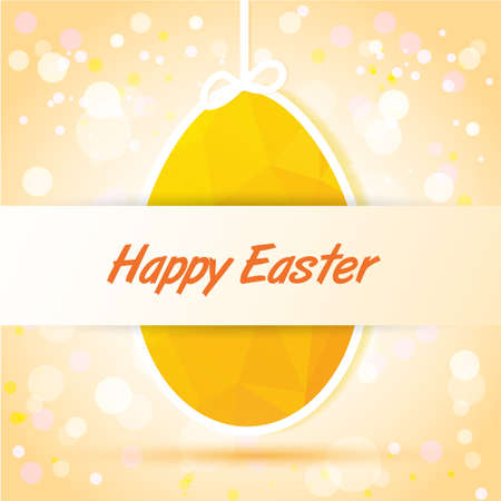 yellow egg card  with Happy Easter  Vector