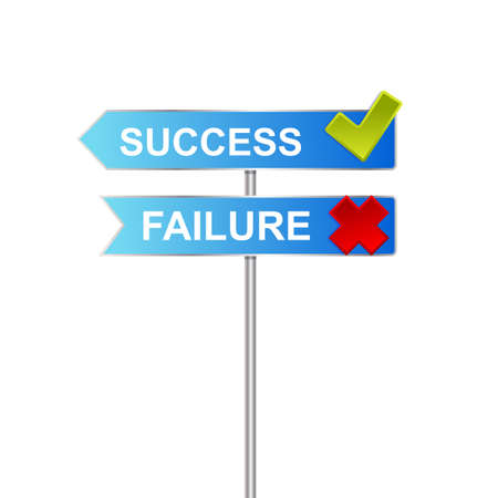unsuccess: success failure signs Illustration