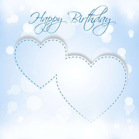 Happy Birthday 2 hearts Stock Vector - 18423085