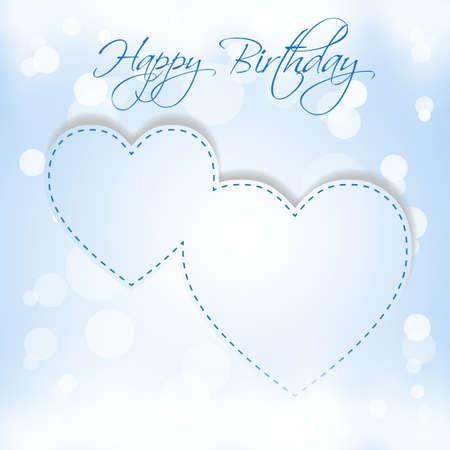 Happy Birthday 2 hearts Stock Vector - 18423085