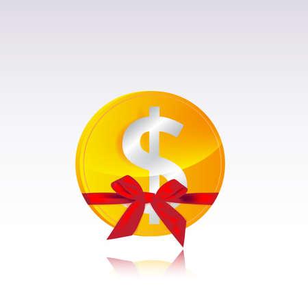 dollar coin gift Stock Vector - 18512242