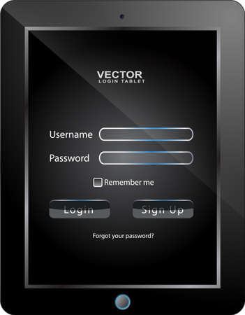 tablet login interface Vector