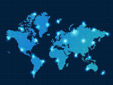 mapa de europa: mapa del mundo pixel con focos Vectores