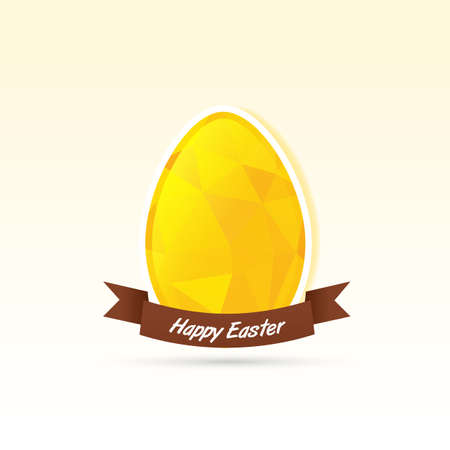 yellow polygonal egg card Vector