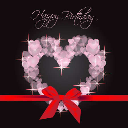 amazing wallpaper: happy birthday many hearts gift Illustration