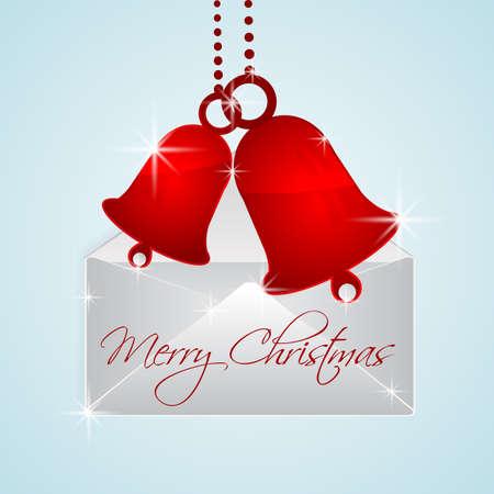 christmas bells in envelope Vector