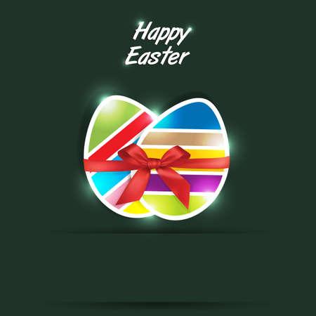 Easter eggs gift in green background Stock Vector - 18755149