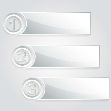 modern 1 2 3 silver banner  Stock Vector - 20242869