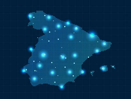 spain map: Pixel Spagna mappa