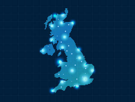 pixel united kingdom map Vector