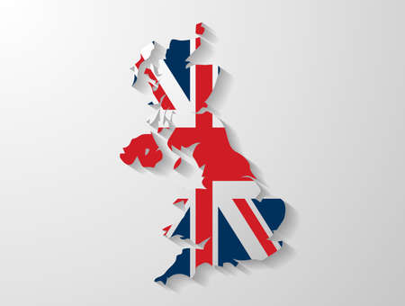 united kingdom map shadow effect Vector