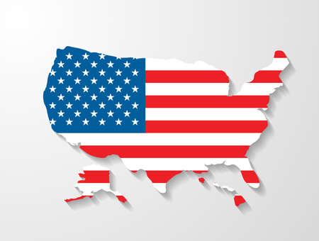 USA map with shadow effect