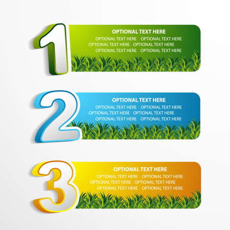 1 2 3 position banner with grass element  Illustration
