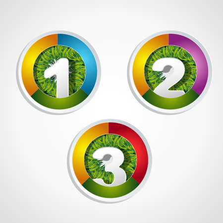 1 2 3 steps button with grass element  Vector