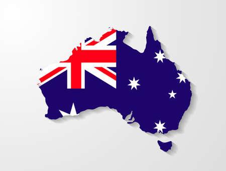 sydney australia: Australia map with shadow effect presentation