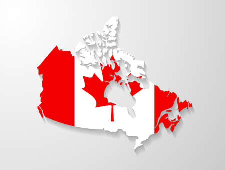 canadian flag: Canada map with shadow effect presentation